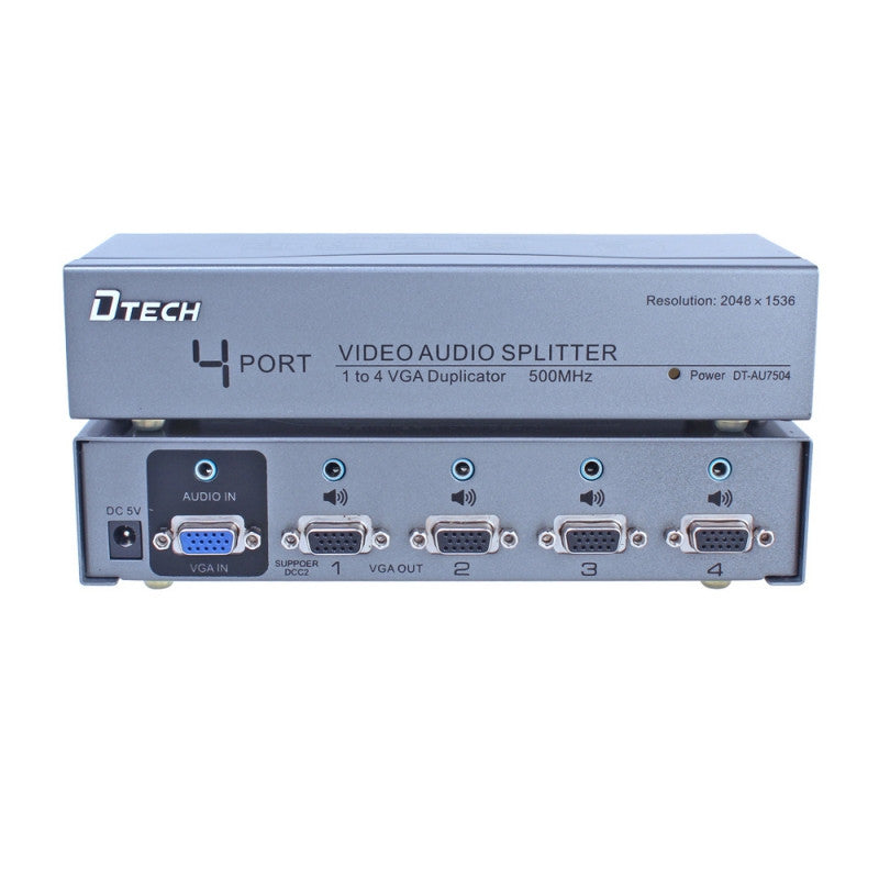 Dtech 1 TO 4 VGA Audio Splitter DT-AU7504