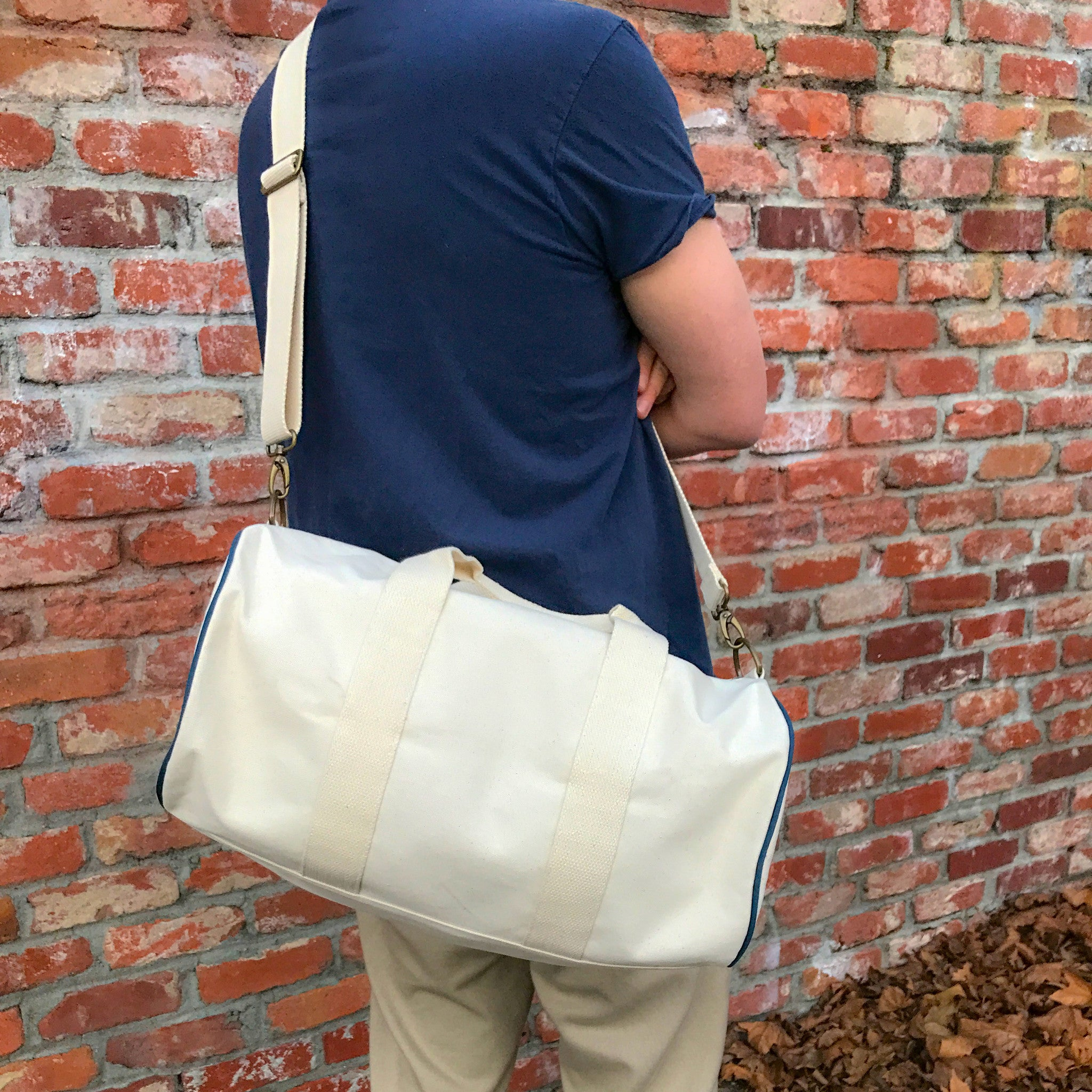 Racer Stripe Green and Navy-Duffel Bag (Khaki)