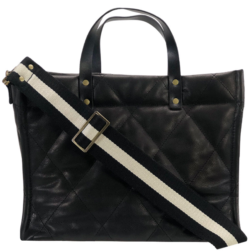 Medium Mimi - Black Leather Quilted- Black and White Racer Stripe Strap