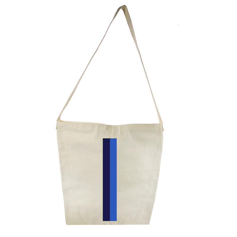 The Big Bucket Bag Natural Canvas- Navy and French Blue Stripe