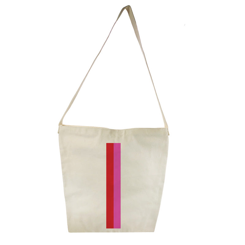 The Big Bucket Bag Natural Canvas- Pink and Red Stripe