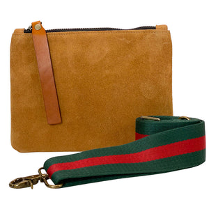 The Baby Lee-Caramel Suede - Green and Red Strap