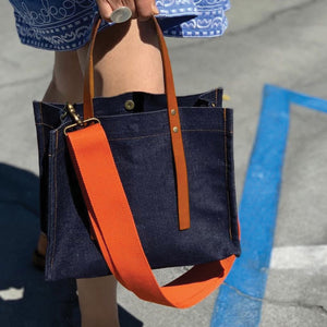 small mimi-Japanese Selvedge Denim -orange webbed strap