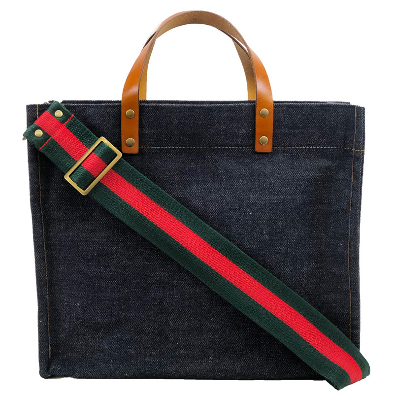 Medium Mimi - Japanese Selvedge Denim-Green and Red Strap