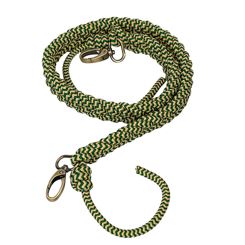 Braided Green and Natural Over the Shoulder Strap