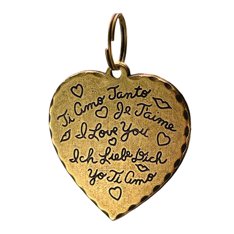 Vintage Heart Charm-I LOVE YOU (languages around the world)