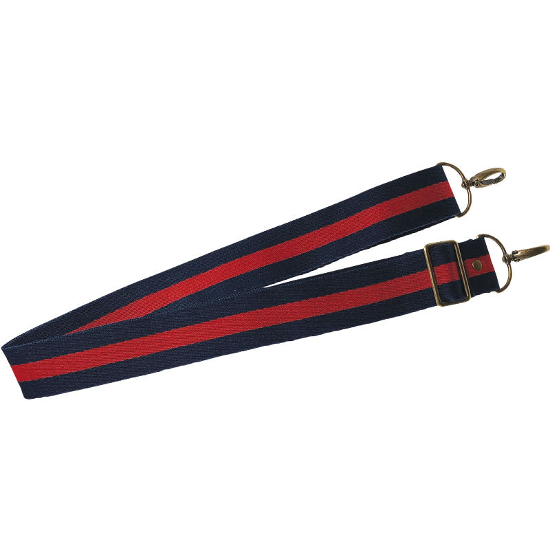 Crossbody Strap-Racer Stripe - Navy and Red