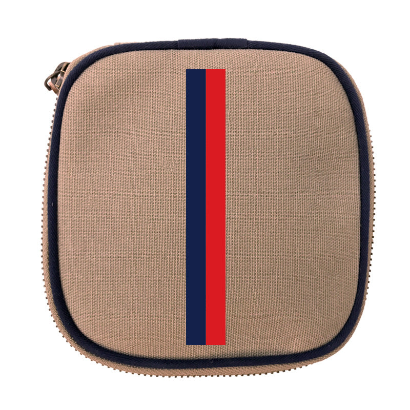 Travel Jewelry Box Khaki-Thin Navy and Red Stripe