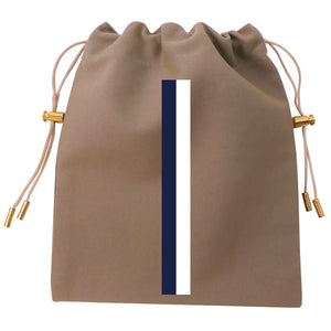 Cables and Chargers Pouch Khaki -Thin Stripe Navy and White