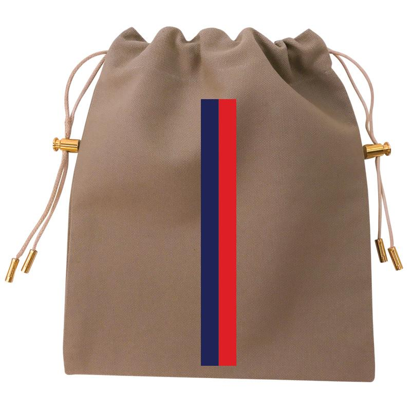 Cables and Chargers Pouch Khaki -Thin Stripe Navy and Red