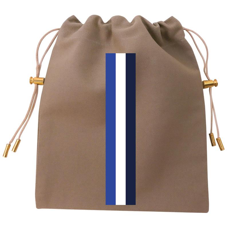 Cables and Chargers Pouch Khaki-Thin Surf Stripe Blue