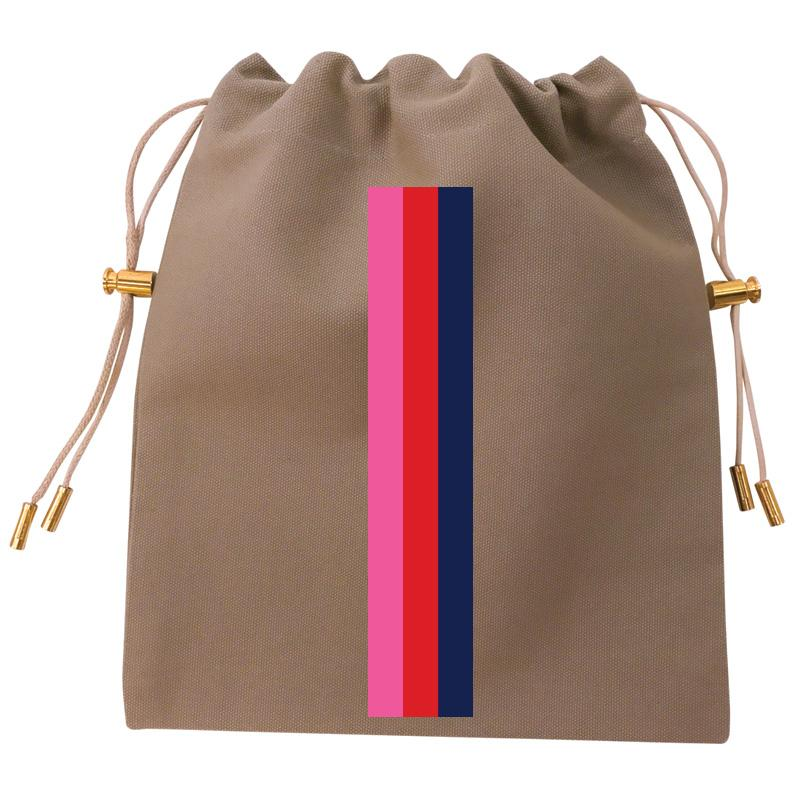 Cables and Chargers Pouch Khaki-Thin Surf Stripe Pink