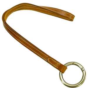 Hand Stitched Leather Lanyard- cognac with color stitching