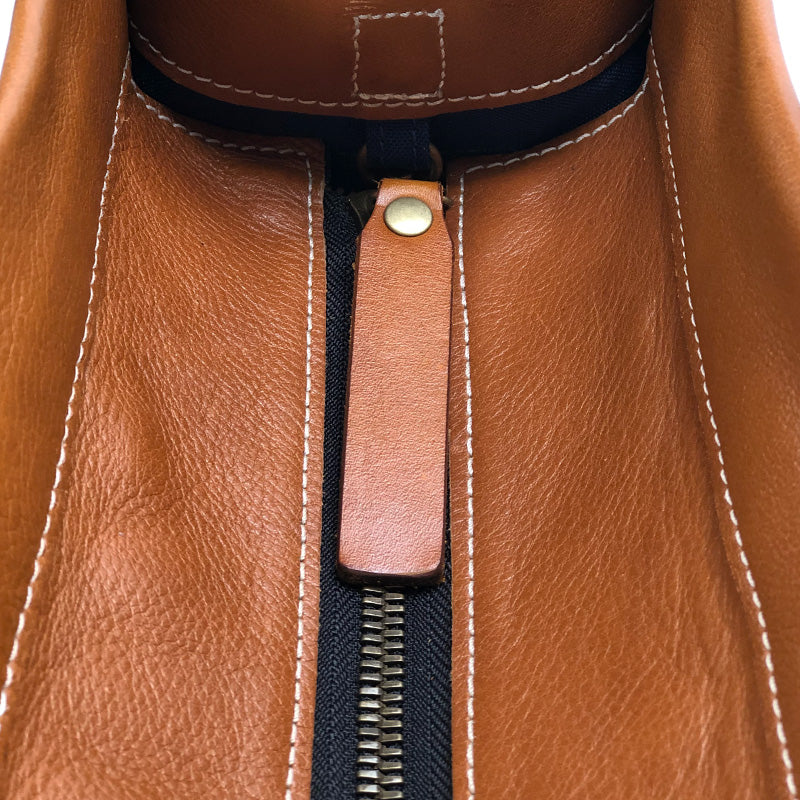 The Parker Saddle Bag-Cognac Pebble Leather- Red and Green racer Stripe Strap