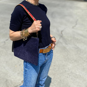 Jackie Suede Navy Over the Shoulder Strap