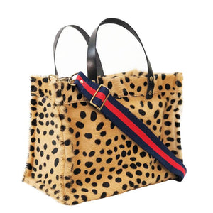 The Small Bear Bag- Leopard Spots -Green & Red Stripe Web Strap