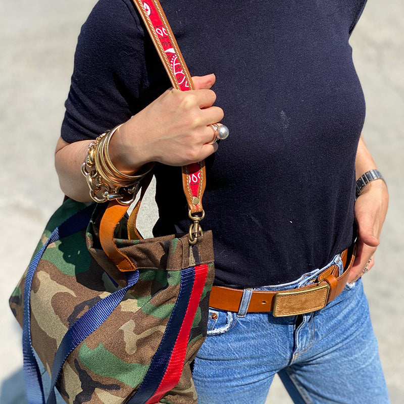 Jackie Bandana Navy and Cognac Leather Over the Shoulder Strap