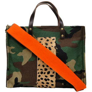 Medium Mimi - Camo - Bear Stripe - Orange Strap
