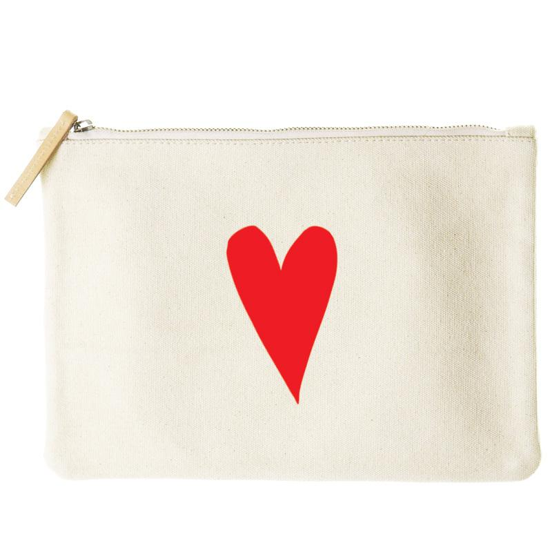 mimi flat clutch- I love you heart