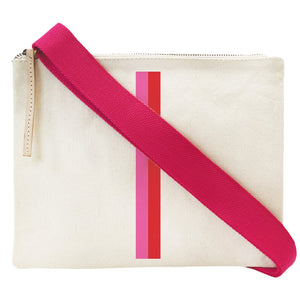 The Lee-Natural Canvas Pink and Red Stripe-Hot Pink Crossbody Strap