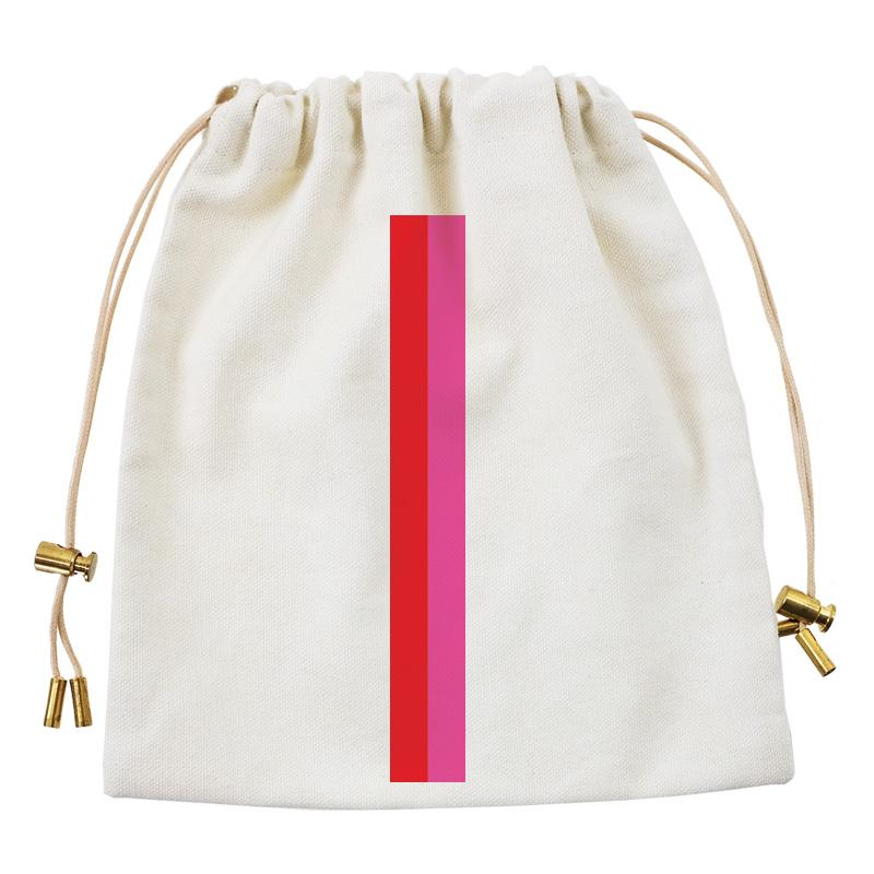 Cables and Chargers Pouch Natural -Thin Stripe Red and Pink