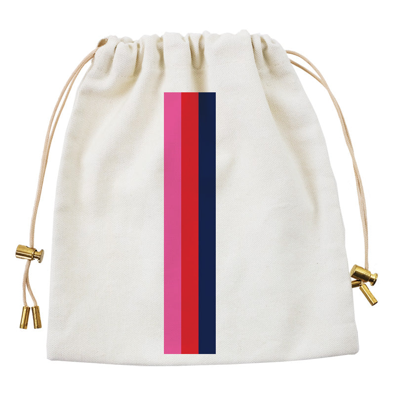Cables and Chargers Pouch Natural-Thin Surf Stripe Pink