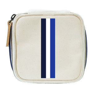 Travel Jewelry Box Natural-Thin Surf Stripe Blue