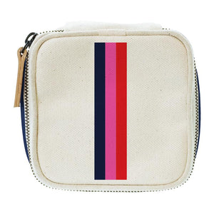 Travel Jewelry Box Natural-Thin Surfer Stripe Pink