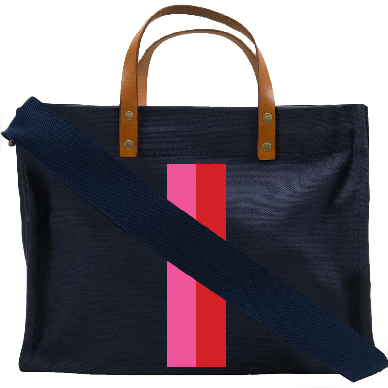 Medium Mimi - Navy - Pink and Red Stripe