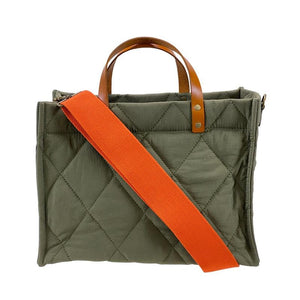 small mimi - olive quilted  - orange strap
