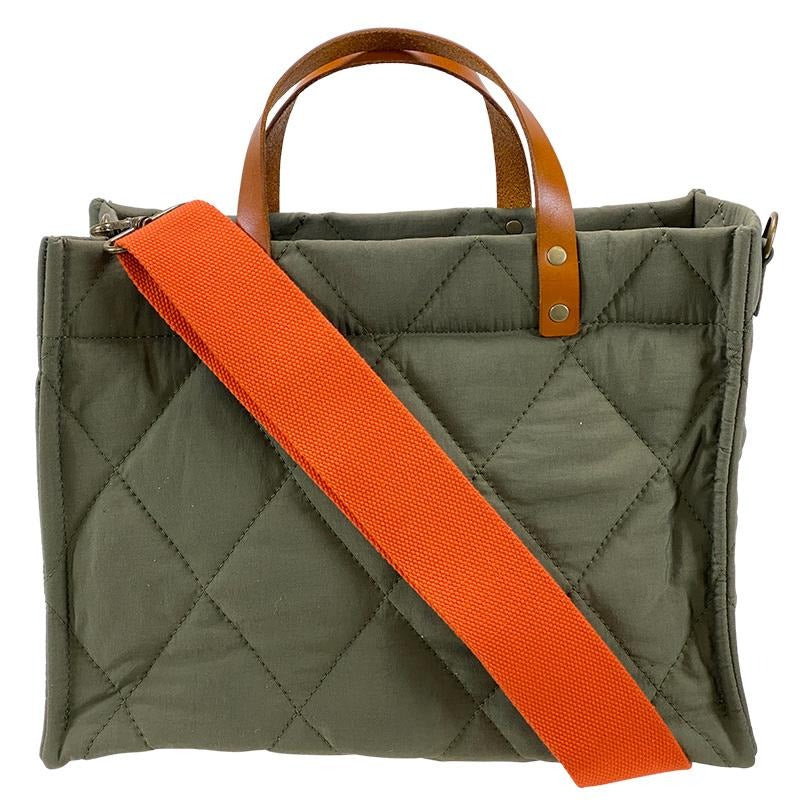 Medium Mimi - Olive Nylon Quilted- Orange Crossbody Bag