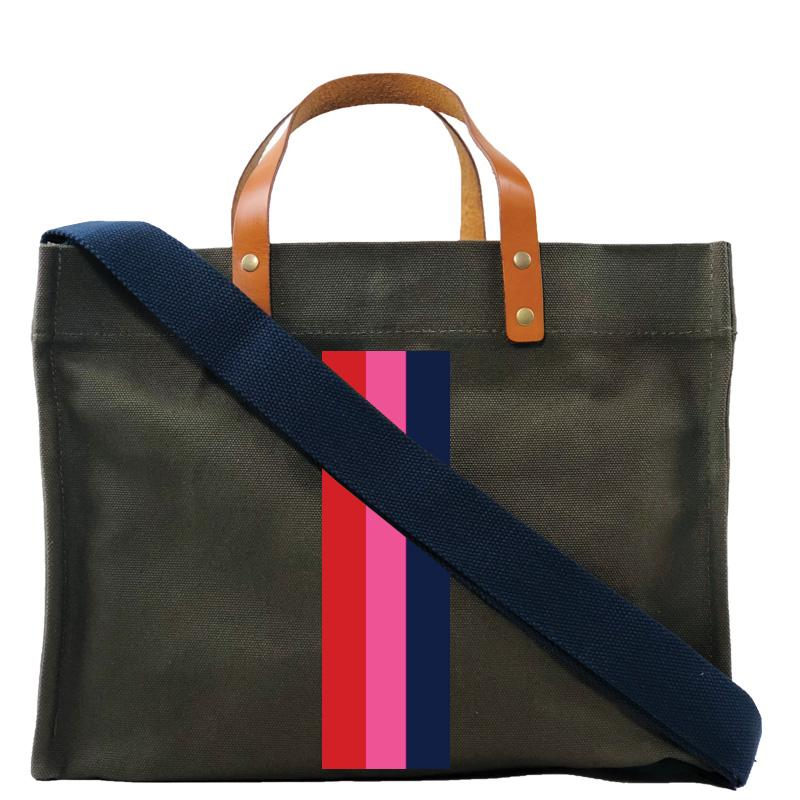 Surfer Stripe Pink -white stripe- olive mimi bag navy wide strap