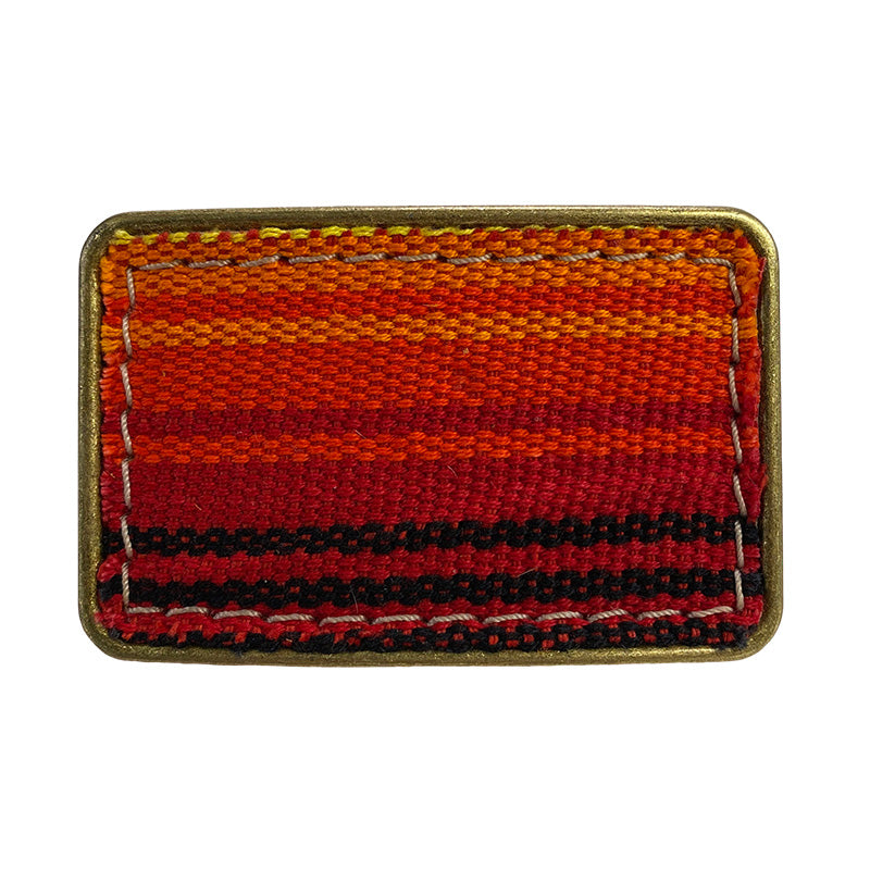 Jackie Belt Buckle-one of kind blanket pattern orange