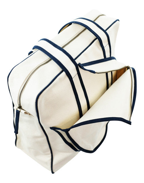 tennis bag-white and navy stripe with WHITE letters