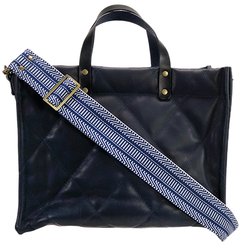 Medium Mimi - Navy Leather Quilted- Greek Cay Crossbody Strap