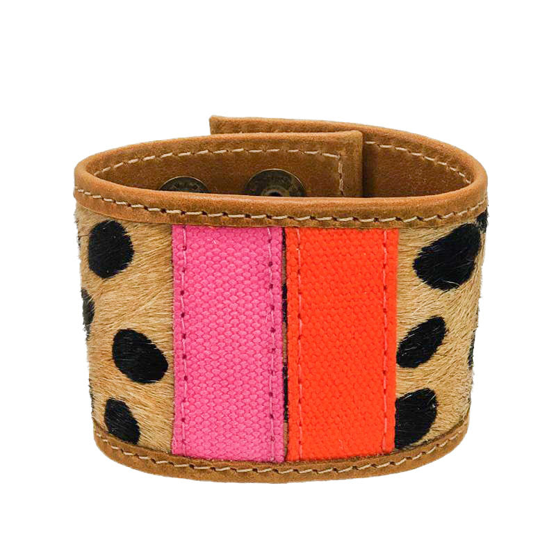 PT LOVE Cuff-Pink and Orange and Leopard- Large