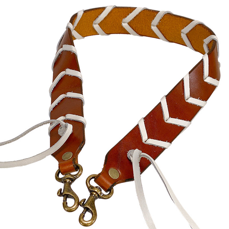 Hand Braided Cognac and White Over the Shoulder Strap