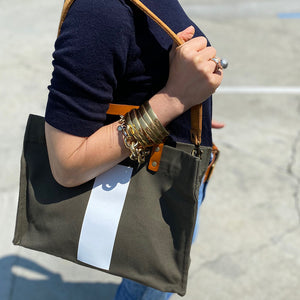 Jackie Bandana and Cognac Leather Over the Shoulder Strap