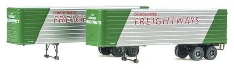 HO Scale Walthers SceneMaster 949-2414 Consolidated Freightways Fluted-Side 35' Trailers