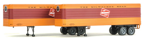 HO Scale Walthers SceneMaster 949-2417 MILW Milwaukee Road Fluted 35' Trailers