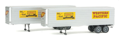 HO Scale Walthers SceneMaster 949-2419 Western Pacific 35' Fluted-Side Trailers