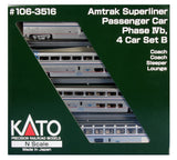 N Scale Kato 106-3516 Amtrak Superliner 4-Car Set Phase IVb Set B
