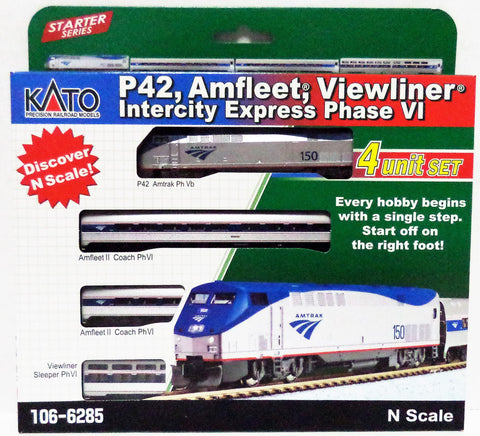 N Scale Kato 106-6285 Amtrak P42 Intercity Express Train Set