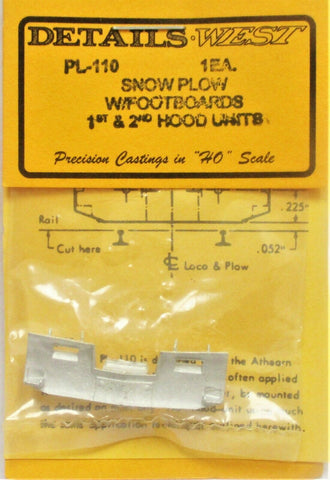 HO Scale Details West PL-110 1st & 2nd Generation Snow Plow With Footboards