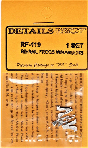 HO Scale Details West RF-119 Rerail Frog Set (Right & Left) 1 Set