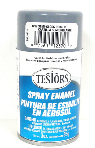 Testors 1237 Semi-Gloss Gray Primer Enamel 3 oz Spray Paint Can