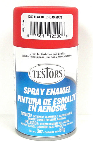 Testors 1250 Flat Red Enamel 3 oz Spray Paint Can