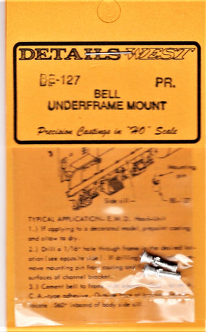 HO Scale Details West BE-127 Frame Mount Bell pkg (2)