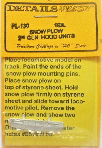 HO Scale Details West PL-130 2nd Generation Low Height Profile Snow Plow