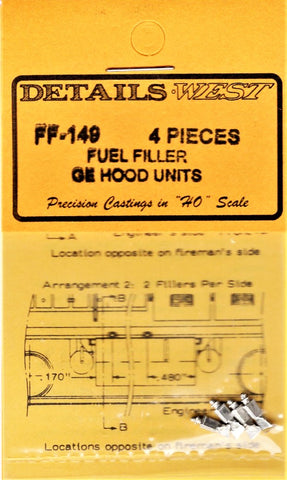HO Scale Details West FF-149 GE Hood Units Fuel Fillers pkg (4)